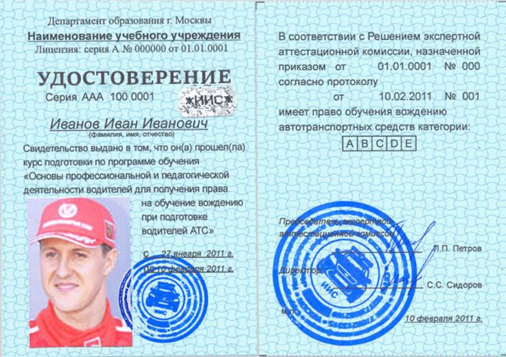 Документы автоинструктора
