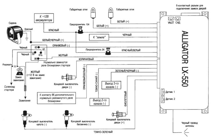 Подключение сигнализации Alligator LX550